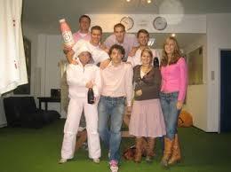 pink ski suit