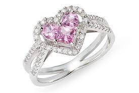 pink heart engagement ring