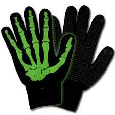 green skeleton gloves