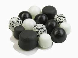 black and white candies