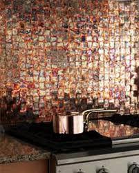 copper tiles backsplash