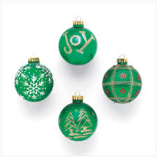 green christmas ornaments
