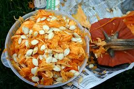 A bowl of pumpkin seeds from