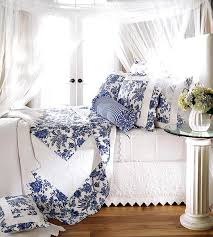 blue and white bed linens