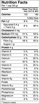 nutrition facts for cheerios