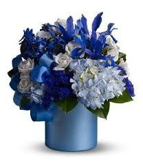 blue floral arrangements