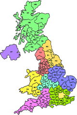 postcode map of england