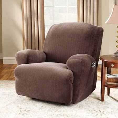 Brown Stretch Pinstripe Recliner Cover