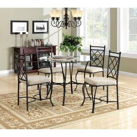 Mainstays 5-Piece Glass Top Metal Dining