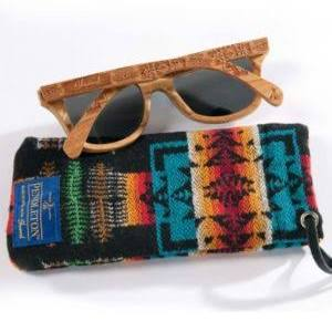 Wood Sunglasses With Wool Case Color Cherry