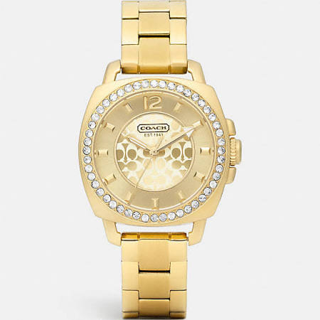 Coach Mini Boyfriend Gold Plated Crystal
