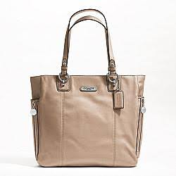 Coach Handbag Beige Gallery Leather Zipper