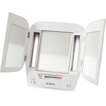 Jerdon 5X Lighted Tri-Fold Makeup Vanity