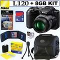 Nikon <b>Coolpix L120</b> 14.1MP Digital Camera Black + 8GB Accessory Kit