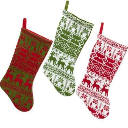 Pack of 6 Knitted Red Green and White