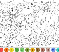 Color By Numbers Coloring Pages Fall Number Printable Page Free Difficult