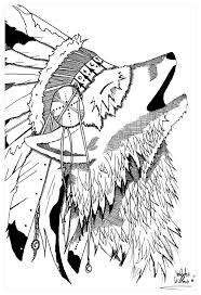 Coloring Of A Wolf Wearing An Indian Headdress