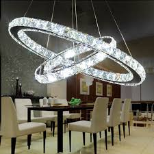 Modern Crystal Pendant Lighting Round LED Lustre Light Lamp Fixture Lustres Home 2 Rings Hanglamp Nordic