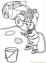 Coloring Pages Noddy Is Washing His Car Cartoons Noddy