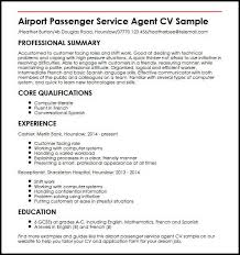 Airport Passenger Service Agent CV Sample