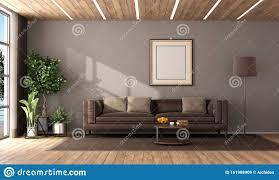 modernes wohnzimmer mit braunem ledersofa stock abbildung