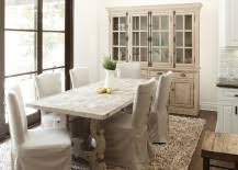 Farmhouse Style Dining Space And Kitchen With A Fabulous Hutch In Blue Design Marina Kutepova