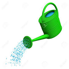 Green Watering Can The White Background Stock Picture