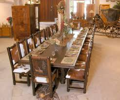 Solid Wooden Rectangular Dining Table With Rustic Animal Inspired Chairs For Italian Interior Design Style