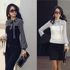 Korean Fashion Women Lady Ladies Slim T Shirt Puff Long Sleeve Polo Neck Stripe Tops Black White G0472 2018 From Cntomtop 724