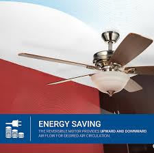 hyperikon indoor ceiling fan with remote control 52 inch brushed