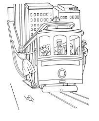 Trolley Cable Car Coloring Pages