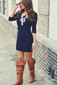 Royal Blue Dress Long Boots And Necklace