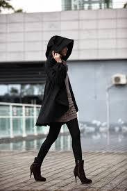 BLACK Long Sleeve Wool Winter Coat Special Hooded Woolen Cape Hood Cloak Hoodie For Women