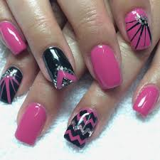 Black Nails Simple Black And Pink Nail Design Tip Designs