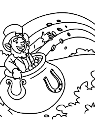 A Leprechaun Inside Pot Of Gold Coloring Page