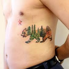 California Grizzly Bear Tattoo On The Left Rib Cage
