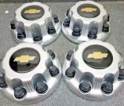 100 Chevy Truck Center Caps 4pcs New Black SILVER 8 Lug Express Van 2500