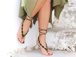 Crochet Barefoot Sandals Green Nude Shoes Wedding Fashion Accessories Yoga Toe Thong Bottomless Beach Pool Sexy Gipsy Feet