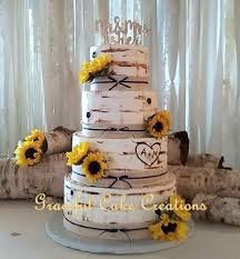 Rustic Birch Bark Wedding Cake Accented With Burlap And Lace Sunflowers
