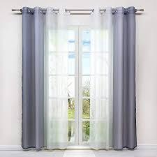 hongya 2er pack farbverlauf gardinen transparenter voile vorhänge schals mit ösen h b 245 140 cm grau
