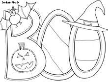 Halloween Boo Colouring Page