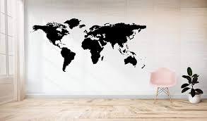 stickerkoenig wandtattoo weltkarte world map motiv ii xxxl groß 220x114cm wandsticker wandaufkleber farbe a schwarz