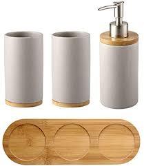 huij bad accessoires set 4 teilig seifenspender zahnputzbecher bambus ablage badezimmer set 4 teiliges badzubehör vierteilige badgarnitur aus keramik