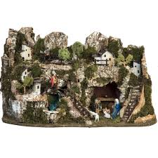 Extra Large Fish Tank Decorations by Nativity Village With Waterfall 74x43x36cm Online Sales On