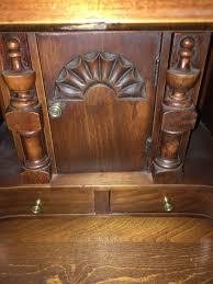 Governor Winthrop Desk Furniture by Colonial Revival Depression Era Slant Antique Cherry Desk
