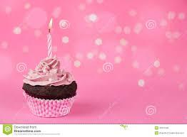 Pink birthday cupcake with lights