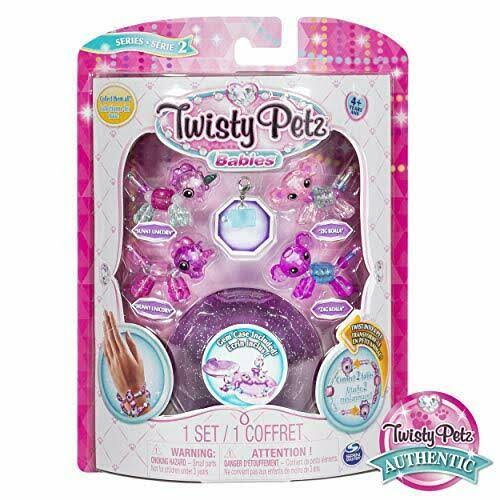 Twisty Petz, Series 2 Babies 4 Pack, Unicorns and Koalas Collectible Bracelet and Case (Purple) for Kids