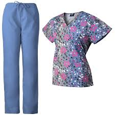 medgear womens scrubs set printed scrub top matching ceil blue