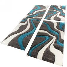 bettumrandung läufer teppich muster modern türkis grau weiss
