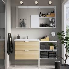 enhet tvällen badezimmer set 15 tlg eichenachbildung weiß pilkån mischbatterie 142x43x87 cm
